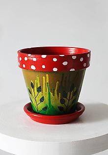 Nádoby - Terakotový kvetináč - Muchotrávka - 12002100_