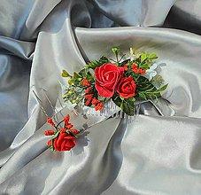 Ozdoby do vlasov - Červený kvetinový set, hrebeň a vlásenky - 12001110_