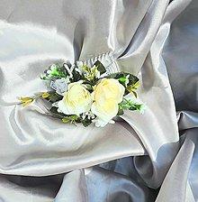 Ozdoby do vlasov - Svadobný béžový kvetinový hrebeň - 12001164_