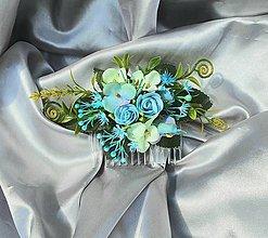 Ozdoby do vlasov - Tyrkysový kvetinový hrebienok do vlasov - 12001266_