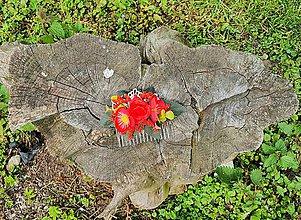Ozdoby do vlasov - Červený kvetinový hrebeň - 12001751_