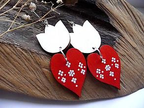 Náušnice - tulipánové v červeno-bielej - 12003581_