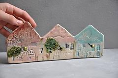 Nábytok - 3 vešiak dom ružovo modrý - 12002233_