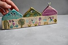 Nábytok - 3 vešiak dom ružovo tyrkysový - 12002256_
