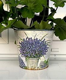 Nádoby - plechový kvetináč levanduľa No.2 - 12004248_