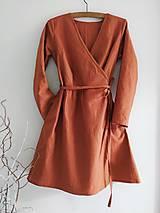 Šaty - Ľanové zavinovacie šaty - 12003585_