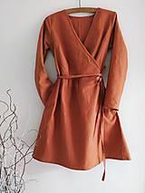 Šaty - Ľanové zavinovacie šaty - 12003587_
