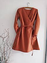 Šaty - Ľanové zavinovacie šaty - 12003595_