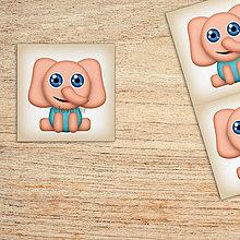 Detské doplnky - Samolepiace štítky roztomilé zverky safari/džungľa - slon - 12003013_