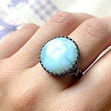 Prstene - Antique Bronze Filigree Larimar Ring / Elegantný vintage prsteň s masívnymlarimarom - 12005466_