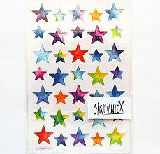 Papier - Samolepky, hviezdy, hviezdičky, trblietavé - 12004584_