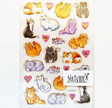 Papier - Samolepky, mačka, mačička, cica, cicka, kocúr - 12004746_
