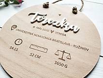 Dekorácie - Personalizovaná tabuľka - údaje o narodení - 12005319_
