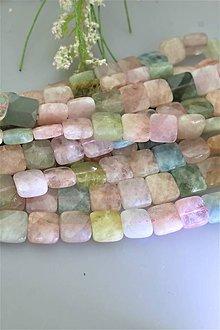 Minerály - morganit korálky - štvorčeky 12x12mm, brúsené, cena za 10ks! - 12007161_