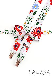 Doplnky - Pánsky folklórny motýlik a traky - biely - set - ľudový - kvetinový - 12006341_