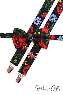 Doplnky - Pánsky folklórny motýlik a traky - čierny - set - ľudový - kvetinový - 12006342_