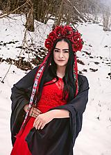 Ozdoby do vlasov - Kvetinová parta - čelenka - folklórna - vínová - čierna - červená - 12006499_