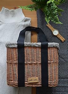Kabelky - Prútená kabelka do ruky N°3 (Prútená kabelka do ruky N°3 tmavý ľan) - 12005568_