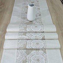Úžitkový textil - REBEKA - biele mandaly na béžovom melíre - stredový obrus 175x40 - 12004622_