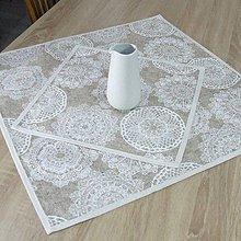 Úžitkový textil - REBEKA - biele mandaly na béžovom melíre - obrus štvorec - 12004636_