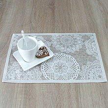 Úžitkový textil - REBEKA - biele mandaly na béžovom melíre - textilné prestieranie 28x40 - 12005307_
