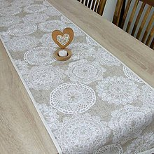 Úžitkový textil - REBEKA - biele mandaly na béžovom melíre - behúň 175x40 - 12005330_