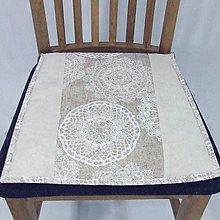 Úžitkový textil - REBEKA - biele mandaly na béžovom melíre - podsedák na stoličku - 12006089_