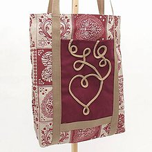 Nákupné tašky - Nákupná eko taška - Srdcový patchwork bordó MAXIM - 12006262_