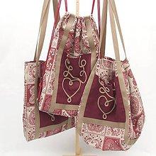 Veľké tašky - Set - Srdcový patchwork bordó MAXIM - 12006981_
