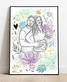 Kresby - Partnerská lásky kresba- tehotenská - 12005534_