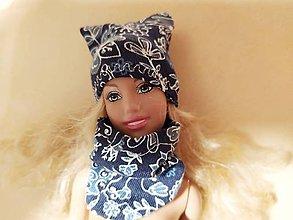 Hračky - Barbie, modrý nákrčník a čiapka - 12007002_
