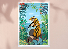 Grafika - Tygr - umělecký tisk, A4 - 12010587_