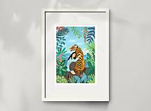 Grafika - Tygr - umělecký tisk, A4 - 12010588_