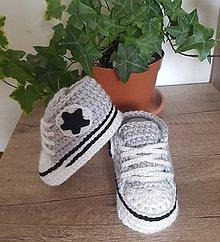 Topánočky - Sivé tenisky s hviezdičkou - 12009881_