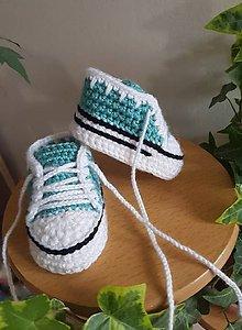 Topánočky - Mentolové tenisky so zúbkami - 12009919_