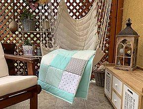 Úžitkový textil - Mentol šedá hviezdička - 12008885_