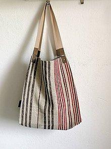 Veľké tašky - Veľká letná pásikavá taška z vrecoviny - 12009143_