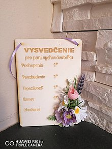 Dekorácie - Kvetinové vysvedčenie pre uciteľku/učiteľa typ 2 - 12008305_