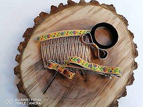 Ozdoby do vlasov - Folklórny set _ozdoby do vlasov žltý folklor aj pre učiteľky - 12009432_