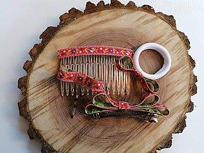 Ozdoby do vlasov - Folklórny set _ozdoby do vlasov červený folklor aj pre učiteľky - 12009442_