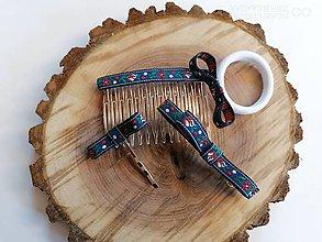 Ozdoby do vlasov - Folklórny set _ozdoby do vlasov modry folklor aj pre učiteľky - 12009473_