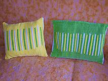 Úžitkový textil - Tkané obliečky na vankúše žlto-zeleno-biele - 12008143_