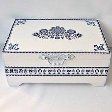 Krabičky - Šperkovnica dvojúrovňová- modrý folk - 12015163_