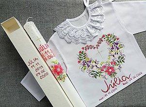 Detské oblečenie - Set do krstu -Červený kvetinový - 12011685_
