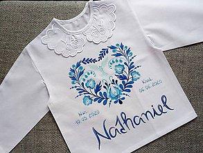 Detské oblečenie - Folková modrá do krstu - 12014746_
