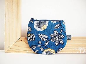 Peňaženky - Peňaženka - kvety na tmavotyrkysovej - 12012390_