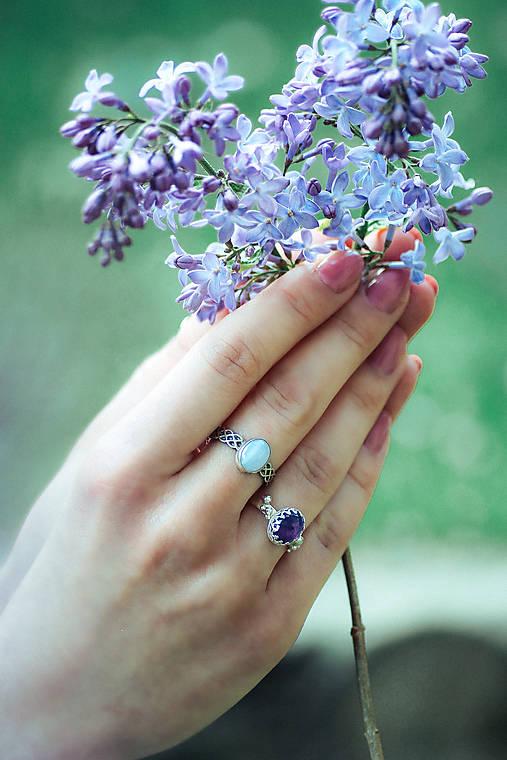 Strieborný prsteň s ametystom - Levandulová