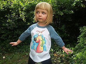 Detské oblečenie - Detské tričko s 3/4 raglánovými rukávmi - Pes a chameleon - 12012016_