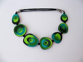 Náhrdelníky - ,,Zelené oká,, - 12012590_