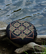 Úžitkový textil - Maľovaný ručne šitý meditačný vankúš KOSHI - 12012451_
